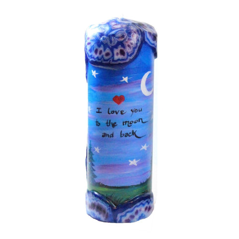 "Quote Candle - ""I love you to the moon and back"""