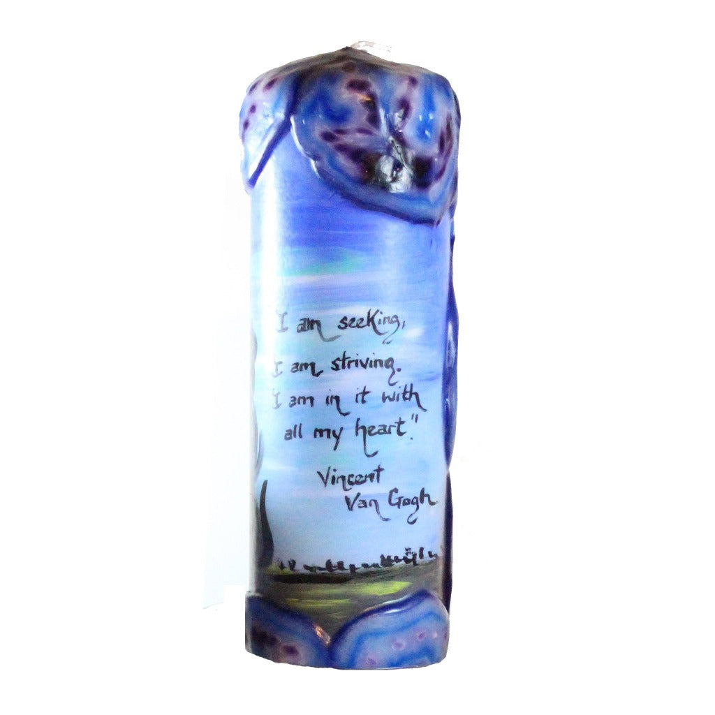 "Quote Pillar Candle - ""I am seeking, I am striving, I am in it with all my heart"" Vincent Van Gogh"