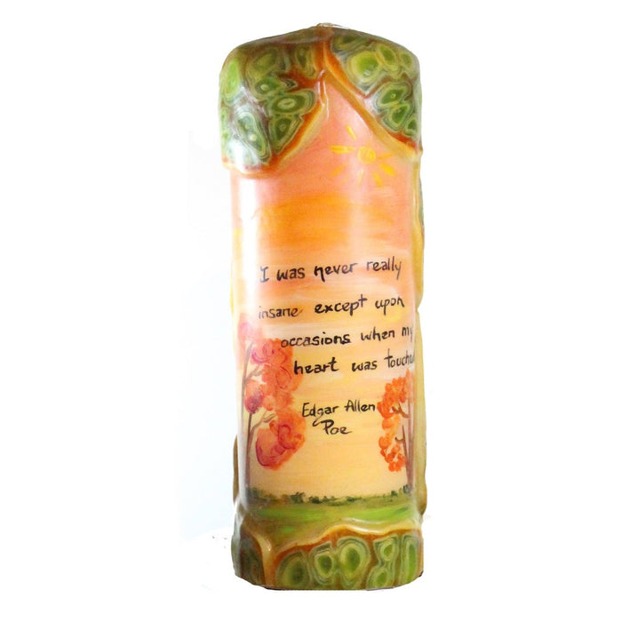 "Quote Pillar Candle - ""I was never really insane except upon occasions when my heart was touched"" Edgar Allen Poe"
