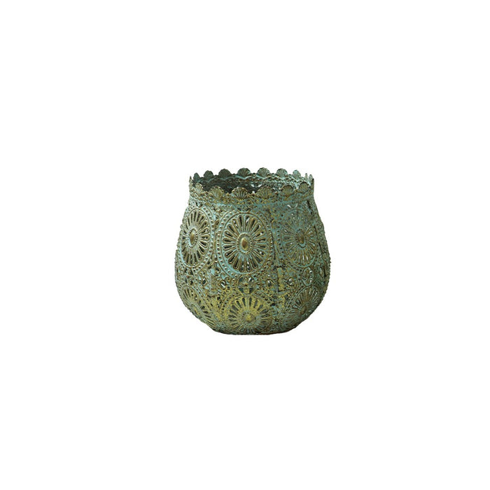 Turquoise and gold metal tea light candle lantern. - Candlestock.com