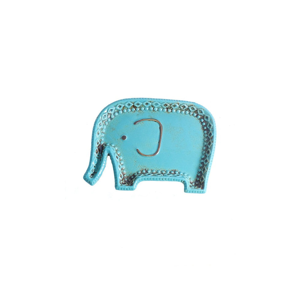 Turquoise Ceramic Elephant Candle Tray