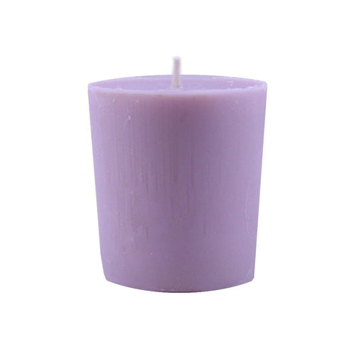 Clear your home and relax with our handmade lavender scented beeswax and soy wax blended votive candle. - Candlestock.com
