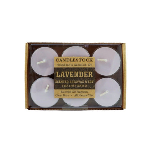 Lavender essential oil scented beeswax tea light candles. 6 pack of scented tea light candles. - Candlestock.com