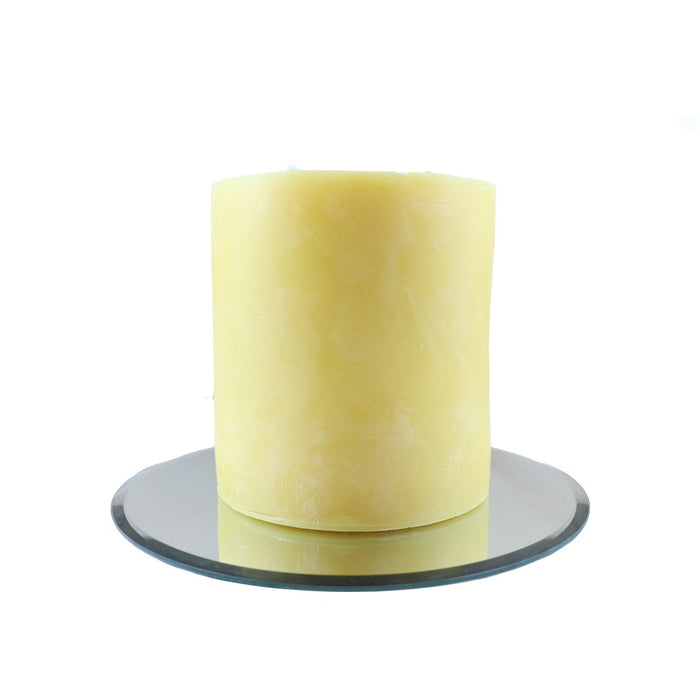 Decorative Mirror Candle Tray - This modern mirror candle tray is perfect for larger pillar candles, like our 3 wick beeswax pillar. - Candlestock.com