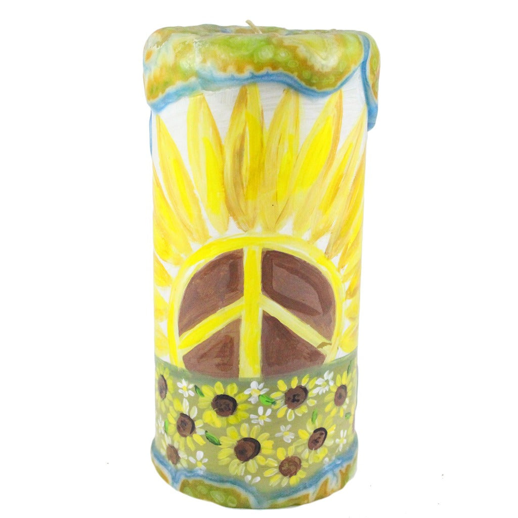 Painted Pillar Candle - Sunflower Peace Sign - Candlestock.com