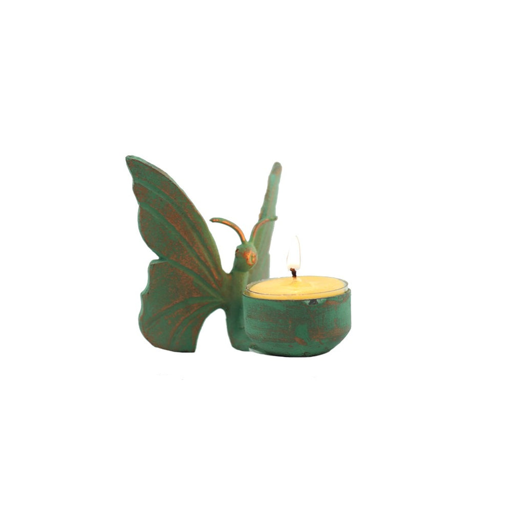 Patina Butterfly Tea Light Candle Holder
