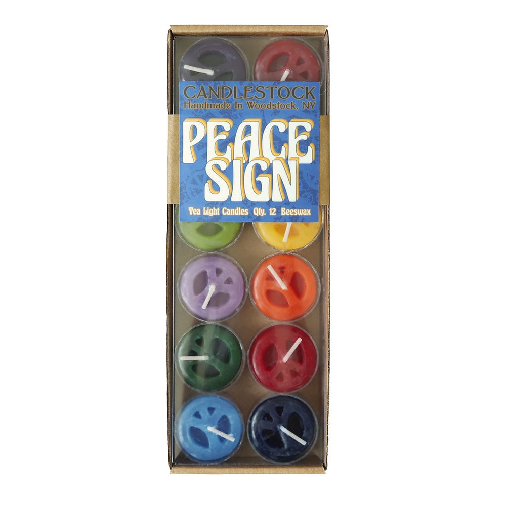Peace Sign Tea Light Candles - 12 Pack