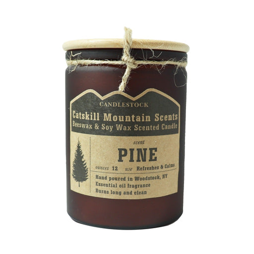 Pine Beeswax and Soy Wax Essential Oil Scented Jar Candle 12 Ounce - Candlestock.com