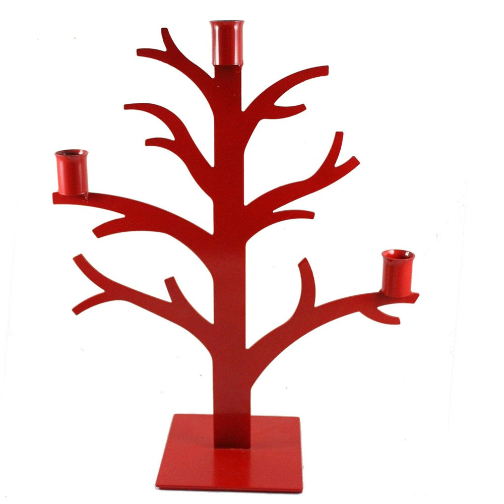 Red Metal Tree Taper Candle Holder - Candlestock.com