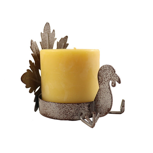Rustic Silver Metal Maple Leaf and Turkey Pillar Candle Holder - Candlestock.com