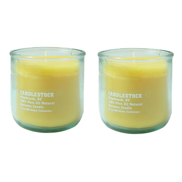 Recycled glass jar pure beeswax candle pair. - Candlestock.com