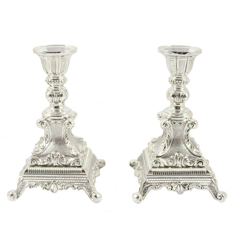 Silver Metal Victorian Taper Candle Holder Pair - Candlestock.com