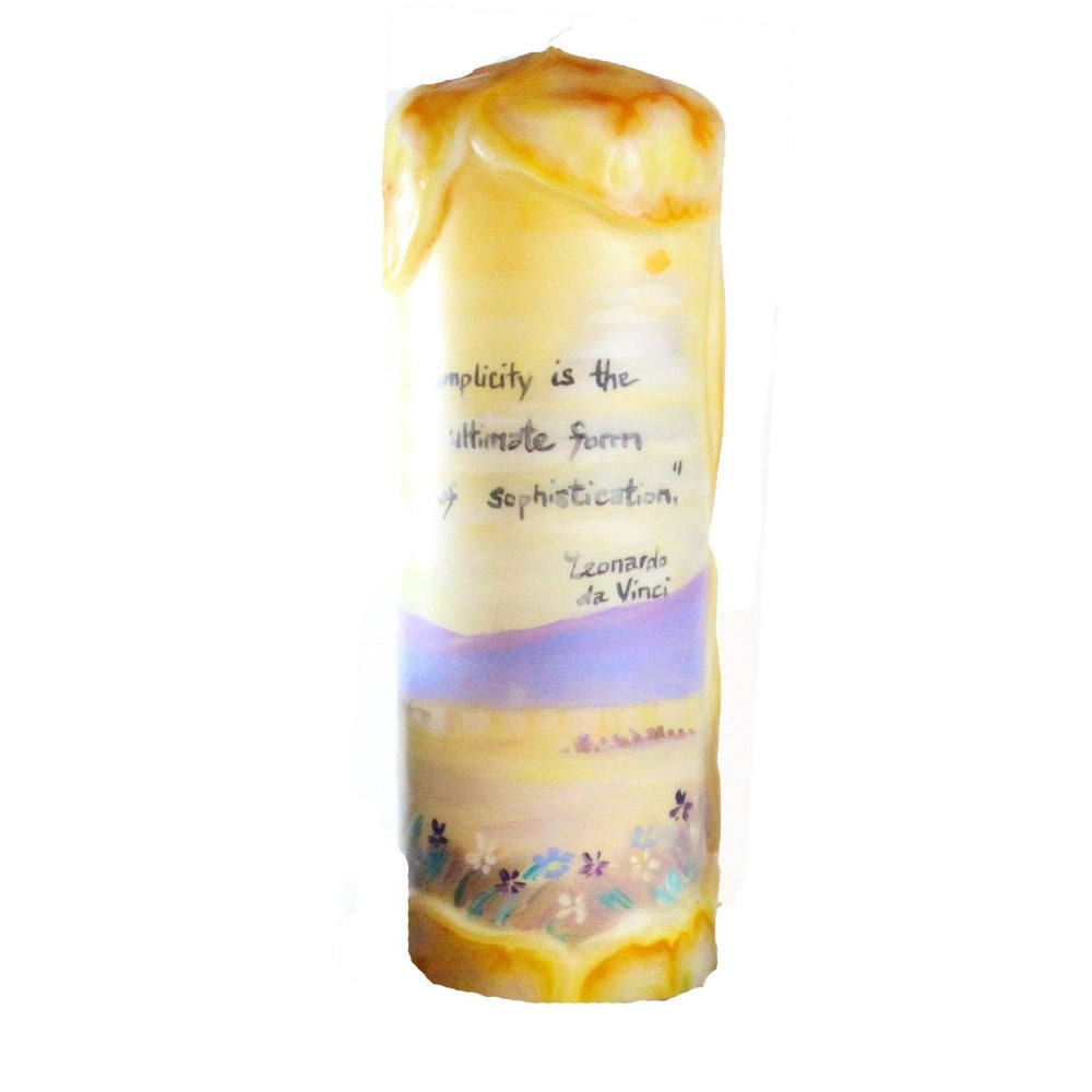 "Quote Pillar Candle - ""Simplicity is the ultimate sophistication"" Leonardo da Vinci"