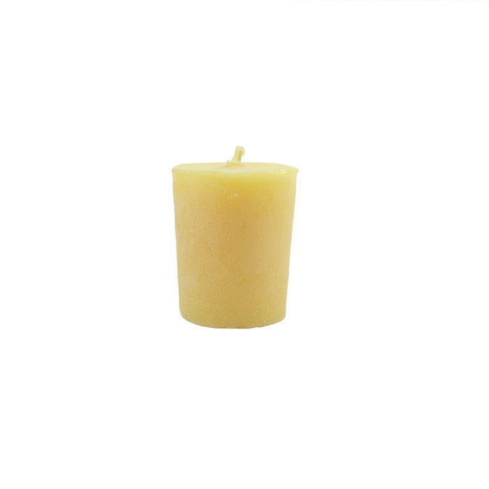 Pure, all natural, locally handmade woodstock beeswax votive candle. - Candlestock.com