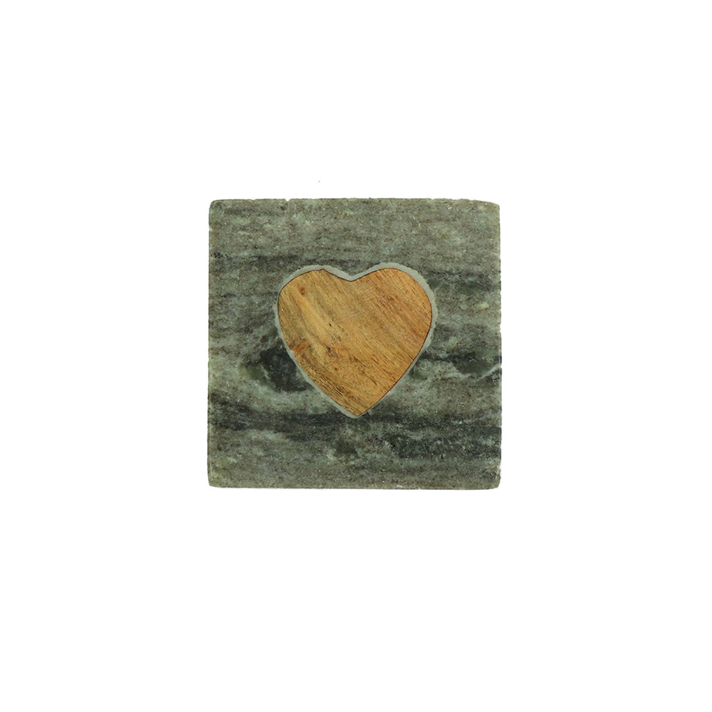 Set your drink, tea light candle or pillar candle on this stone and wood heart coaster. Available individually or in a set of 4. - Candlestock.com