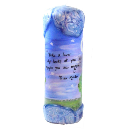 "Quote Pillar Candle - ""Take a lover who looks at you like maybe you are magic"" Frida Khahlo"