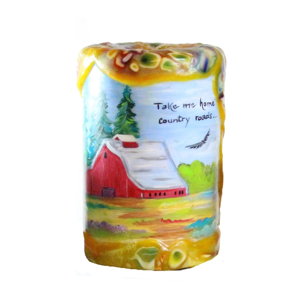"Quote Candle 4x6- ""Take Me Home Country Roads"" John Denver"