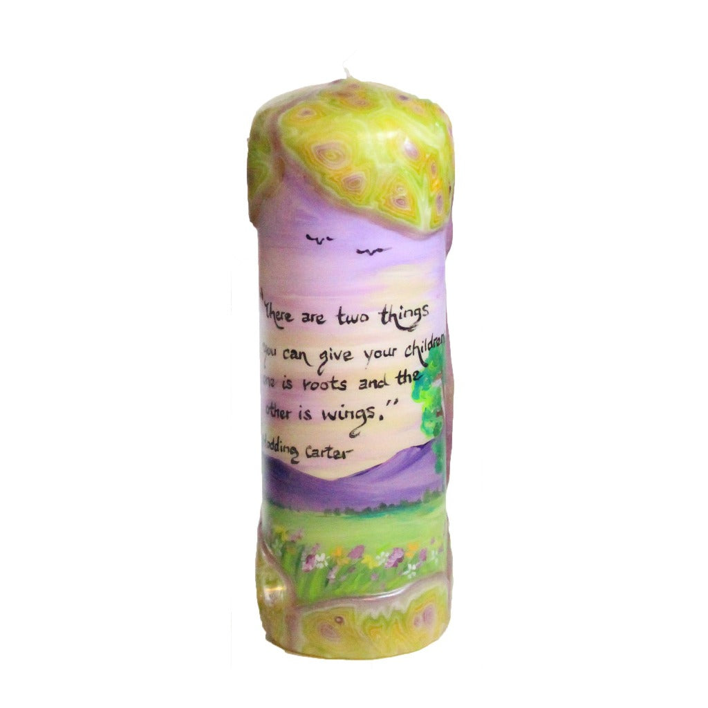 "Quote Pillar Candle - ""There are two things you can give your children; one is roots, the other is wings"" Hodding Carter - Candlestock.com"