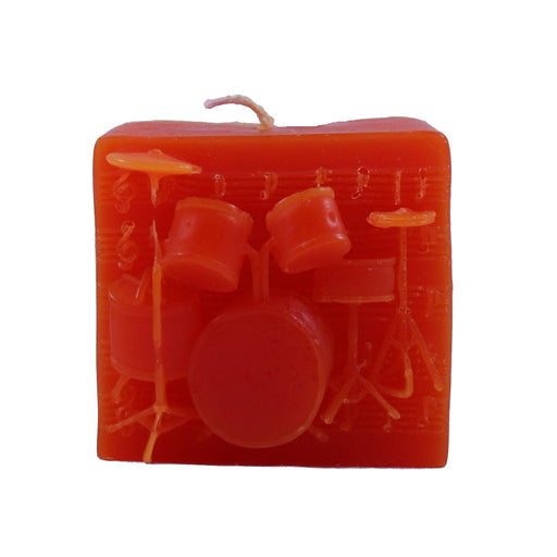 Orange drum set relief novelty candle - musical gifts - Candlestock.com