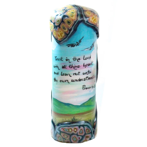 "Quote Candle - ""Trust in the Lord with all thine heart and lean not unto thy own understanding"" Proverb 3:5"