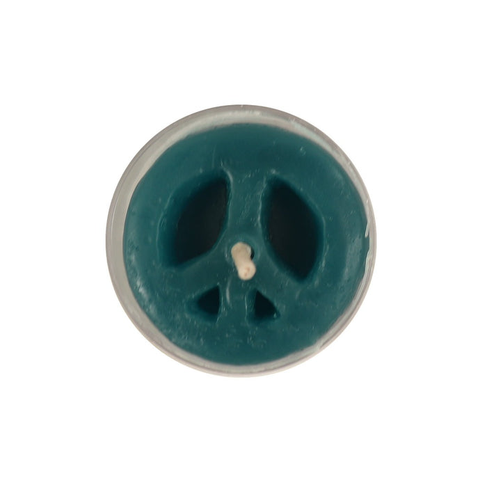 Turquoise Tea Light Candle - Peace Sign Candle - Candlestock.com