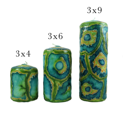 Multicolor Glowing Veneer Pillar Candle