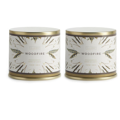 Illume Soy Wax Woodfire Scented Tin Candle - 11.8 oz - Set Of 2