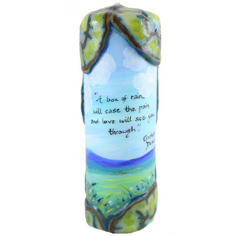 "Quote Candle - ""A box of rain will ease the pain and love will see you through"" Grateful Dead - Candlestock.com"
