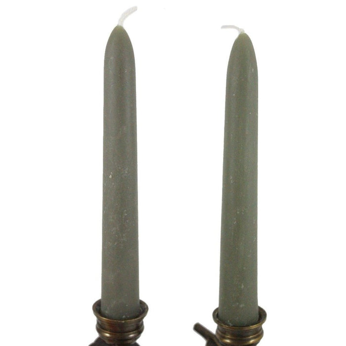 Beeswax Rounded Top Taper Candle Pair 6 inch Sage - 100% All Natural Locally Handmade - Candlestock.com