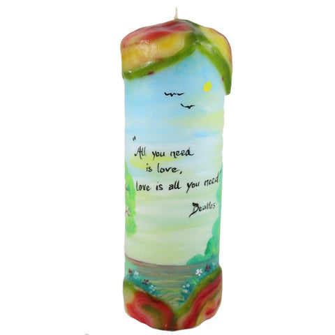 "Quote Candle - ""All you need is love, love is all you need"" Beatles - Candlestock.com"