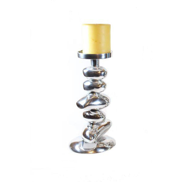 Aluminum Rock Pillar Candle Holder - Candlestock.com
