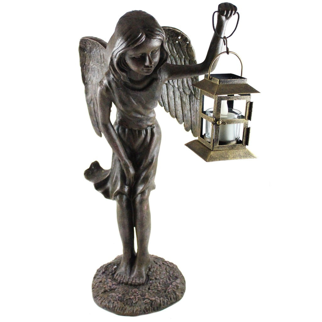 Fairy Statue Holding Tea Light Candle Lantern Metal