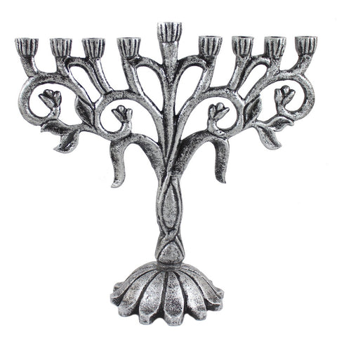 Antiqued Metal Flower Menorah - Candlestock.com