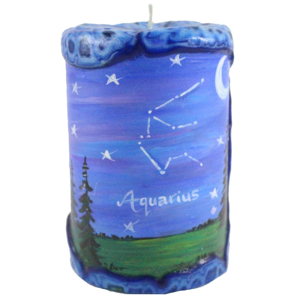 Aquarius Painted Veneer Zodiac Pillar Candle - Candlestock.com