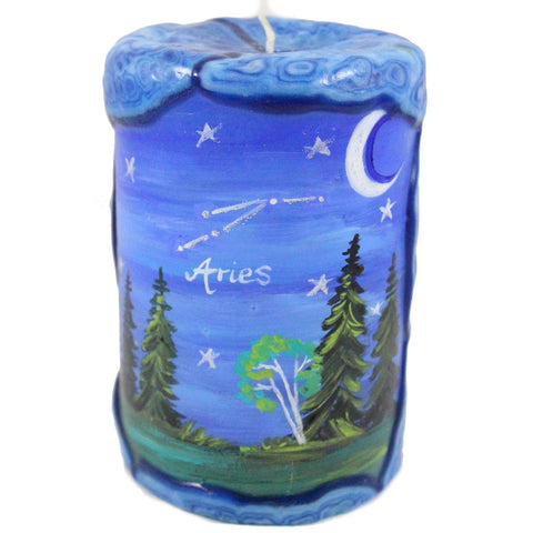 Aries Painted Veneer Zodiac Pillar Candle - Candlestock.com