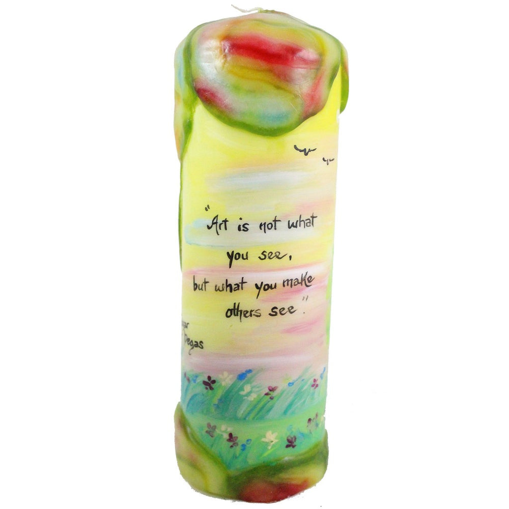 "Quote Pillar Candle - ""Art is not what you see, but what you make others see"" Edgar Degas - Candlestock.com"