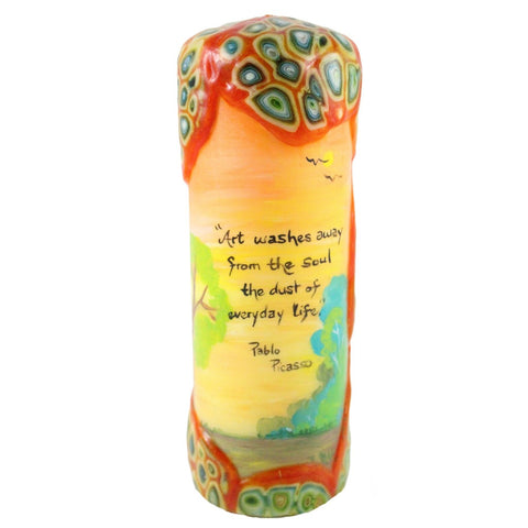"Quote Candle - ""Art washes away from the soul the dust of everyday life"" Pablo Picasso - Candlestock.com"