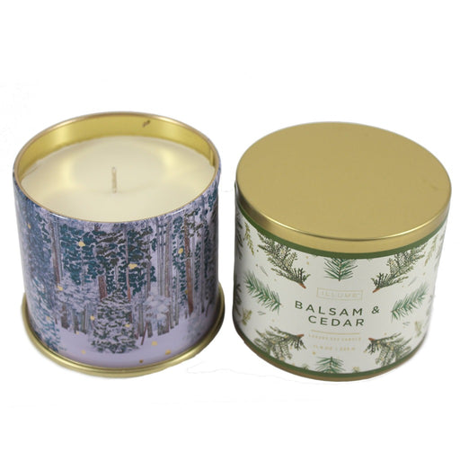 Illume Soy Wax Balsam And Cedar Scented Tin Candle. Christmas Scented Candles. - 11.8 oz - Candlestock.com