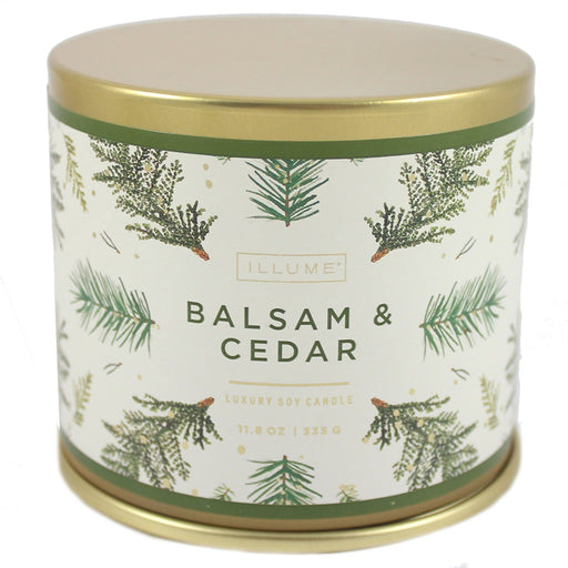 Illume Soy Wax Balsam And Cedar Scented Tin Candle - 11.8 oz. Winter Scented Candles. - Candlestock.com