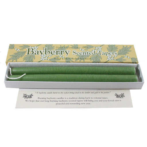 Green Bayberry Scented Taper Candles - Candlestock.com