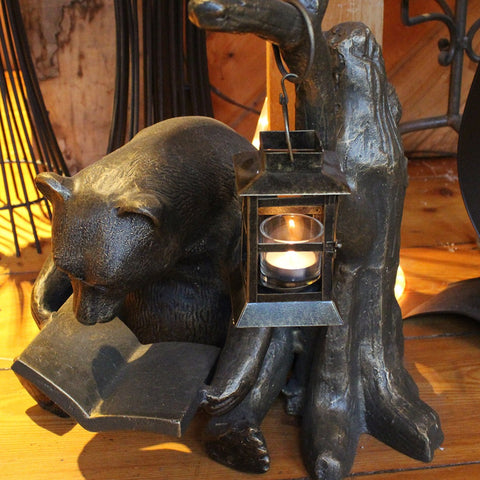 Bear Reading With Tea Light Candle Lantern - Candlestock.com