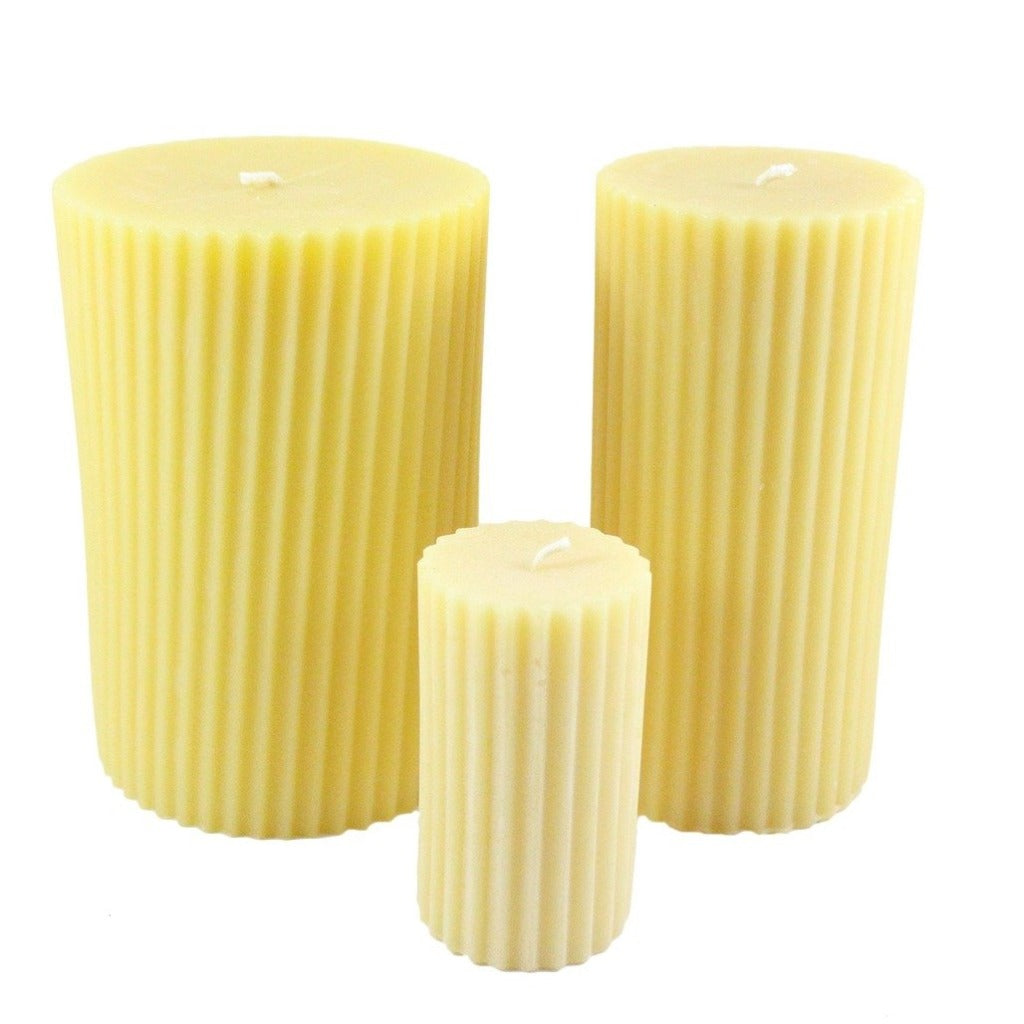 Beeswax Fluted Pillar Candle Candlestock
