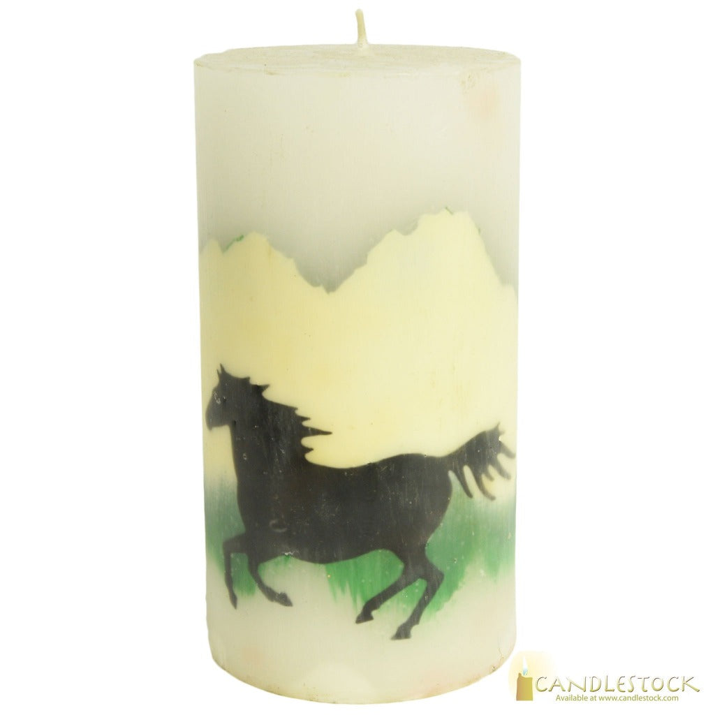 Beeswax Horse Nature Pillar In Multiple Sizes