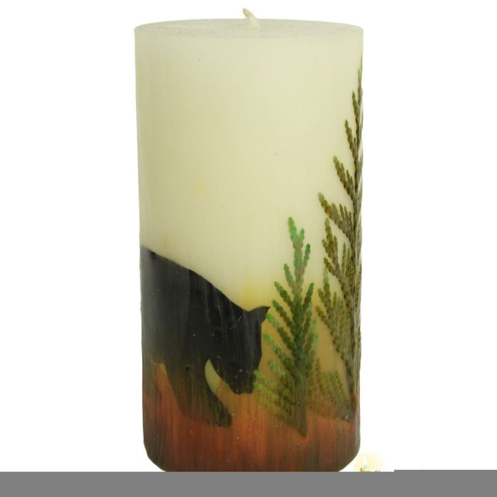Beeswax Nature Bear Pillar Candle - Candlestock.com