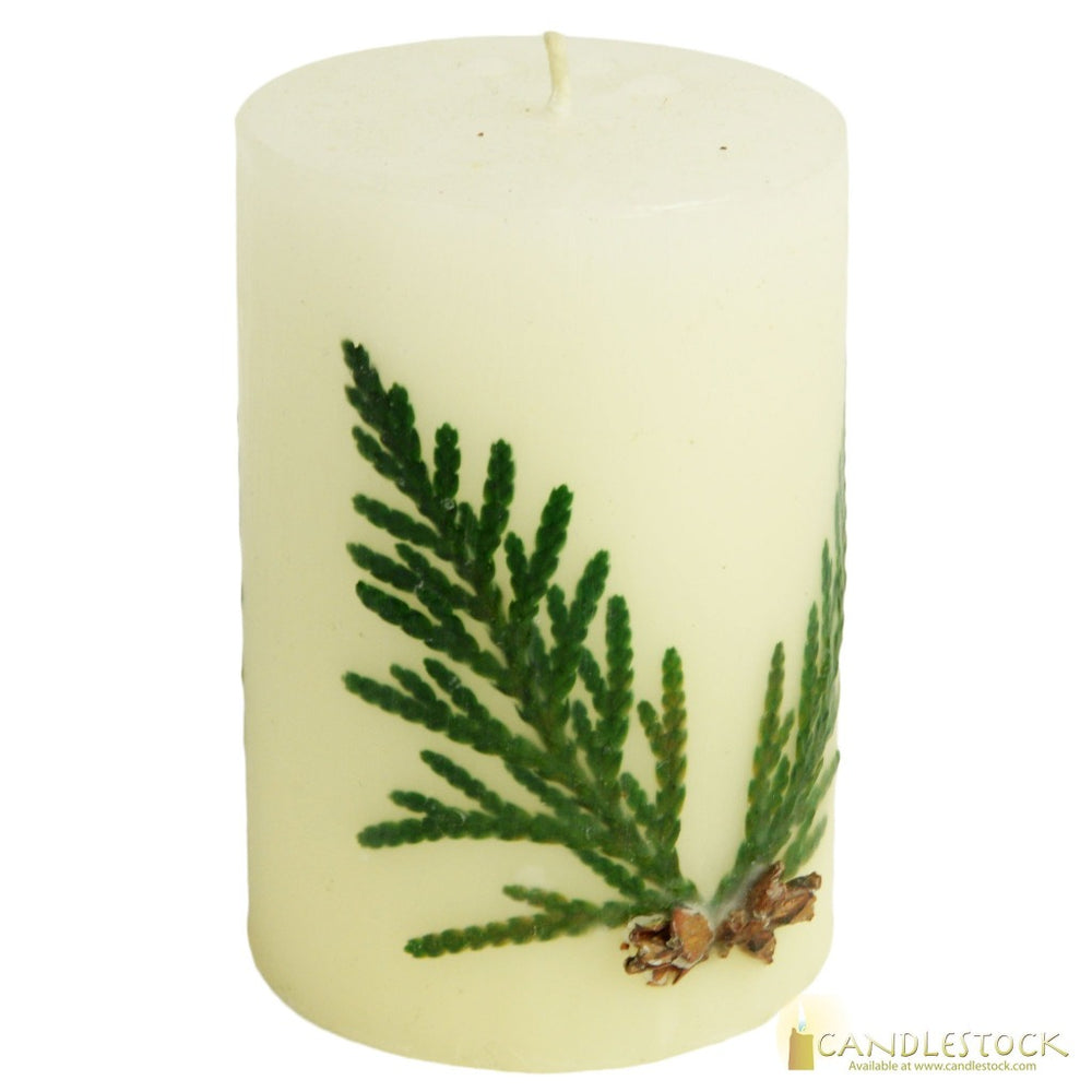 Beeswax Nature Evergreen Pillar Candle - Candlestock.com