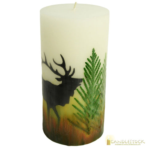 Beeswax Nature Elk Pillar Candle - Candlestock.com