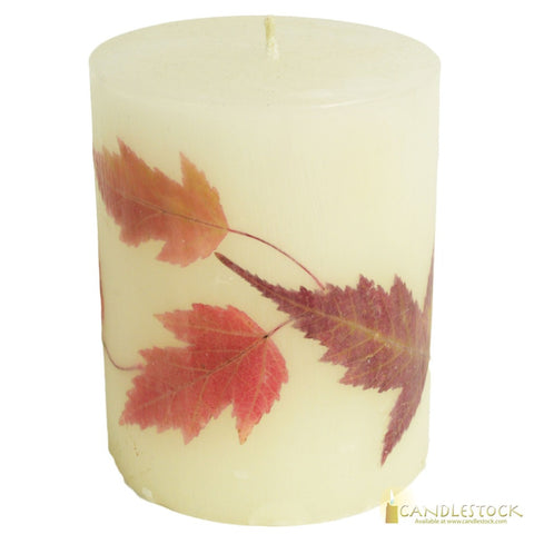 Beeswax Maple Leaf Nature Pillar Candle - Candlestock.com