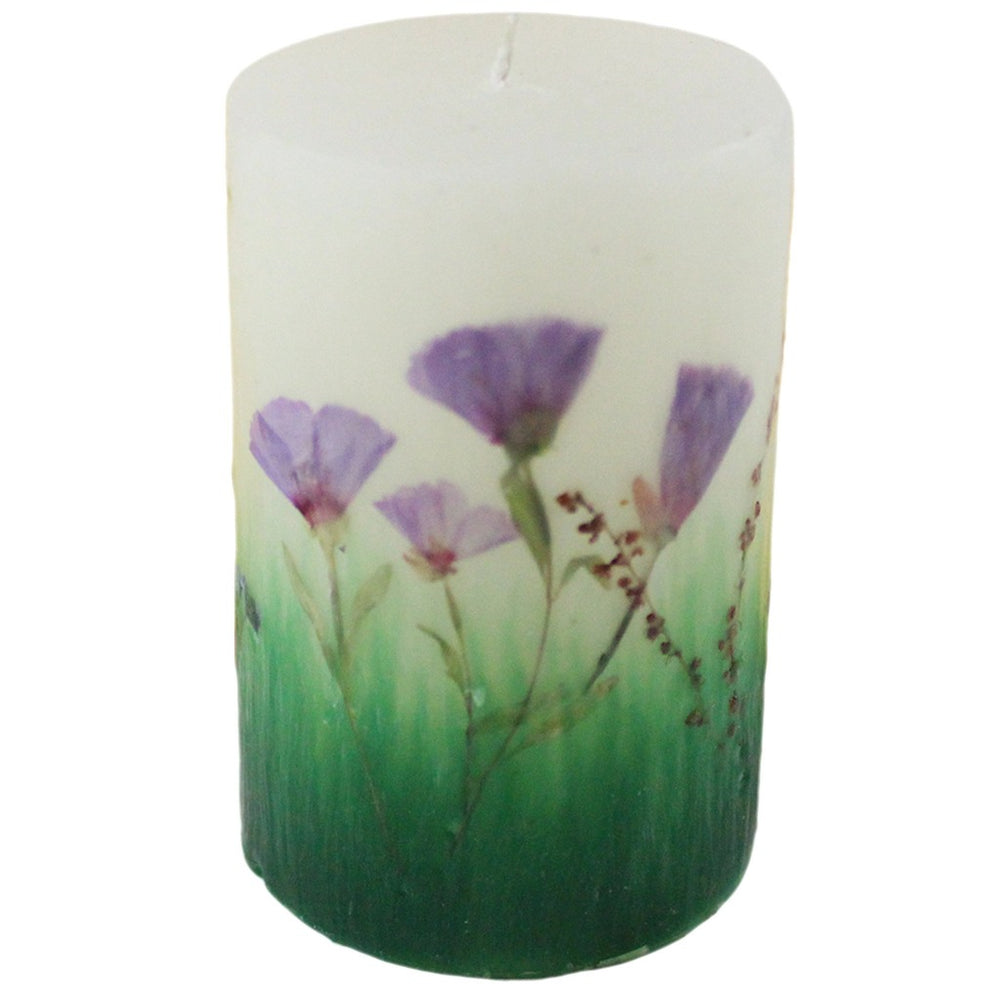 Beeswax Nature Wildflower Pillar Candle - Candlestock.com