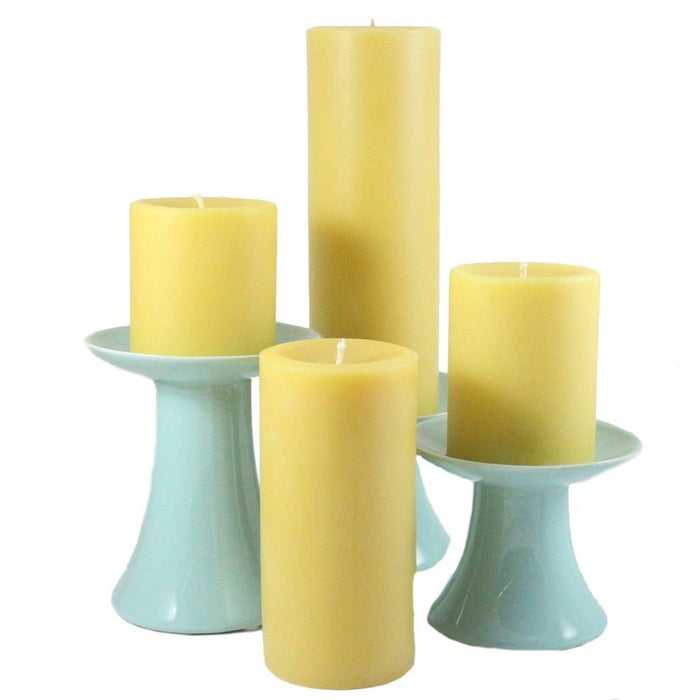 100% pure all natural handmade beeswax pillar candles come in a variety of heights and widths. - Candlestock.com