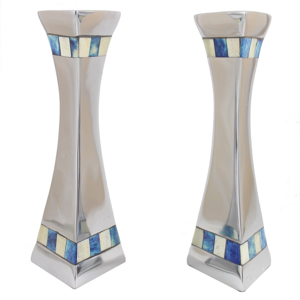 Silver Metal With Blue And White Tile Taper Candle Holder Pair - Candlestock.com